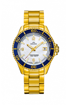 Delma Santiago Quartz Gold plated Blue Bezel 37 mm