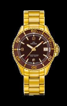 Delma Santiago Quartz Gold plated Brown 37 mm