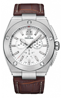 Delma Midland White Chrono Quartz Leatherstrap