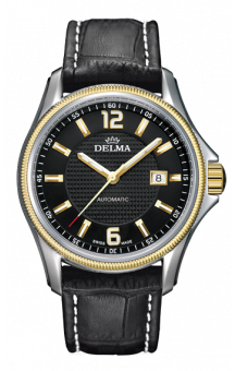 Delma Automatic San Marino Leather Strap Black Dial