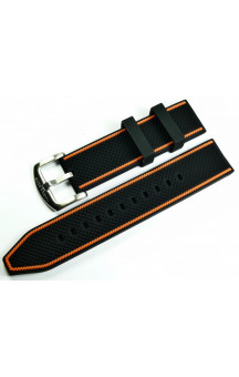MARC & SONS Rubber strap black orange Nr 2