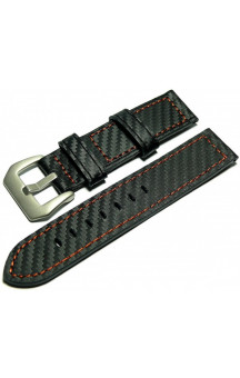 Black genuine leather strap in carbon look C2