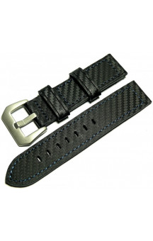 Black genuine leather strap in carbon look C3