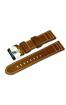 Brown genuine leather strap with light seam L1