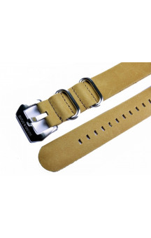 Beige genuine leather zulu strap L10