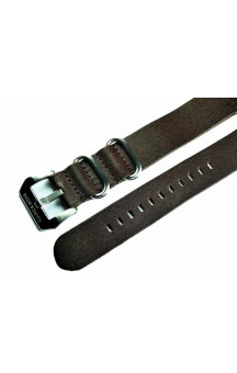Darkbrown genuine leather zulu strap L12