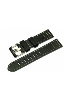 Black genuine leather strap with light seam L2