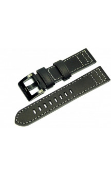 Black genuine leather strap with light seam L3
