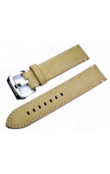 Beige genuine leather strap with white seam L7