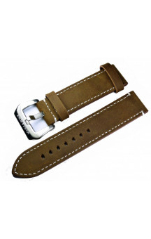 Brown genuine leather strap with white seam L8