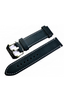 Darkblue genuine leather strap with white seam L9