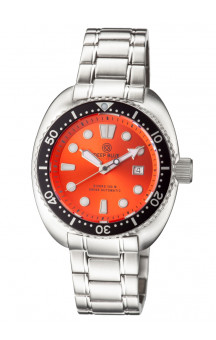 Military Diver Orange 300 Swiss Automatic Steel Band