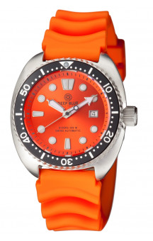 Military Diver Orange 300 Swiss Automatic Rubber Band Orange.