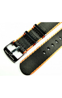 MARC & SONS Herringbone Nato strap color black orange