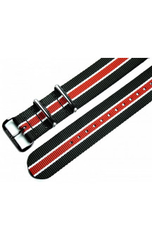 MARC & SONS Nato strap color black white red