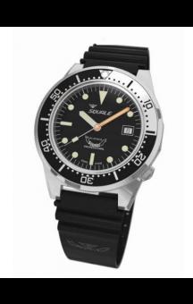 Squale 1521-026 B Silverbezel Black Rubberband